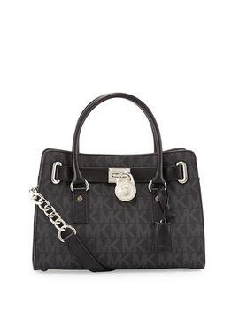 hamilton-mk-logo-satchel-bag,-black by michael-michael-kors
