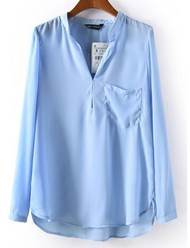 stand-collar-pocket-blue-blouse by romwe
