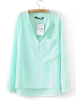 collarless-dipped-hem-pocket-blouse by romwe