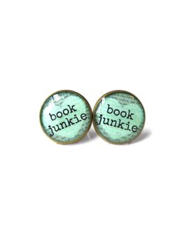 mint-book-junkie-book-page-earrings,-book-jewelry,-nerdy-jewelry-gifts,-book-quote-jewelry,-book-page-jewelry,-typographic-book-earrings by snarkfactory