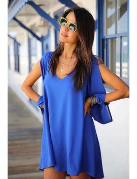 v-neck-split-sleeve-chiffon-dress by romwe