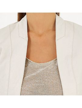 beige-leather-look-faux-fur-collar-jacket by river-island