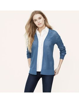 pointelle-stripe-open-cardigan by loft
