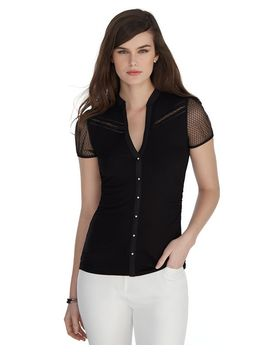 short-sleeve-mesh-trim-shirt by whbm