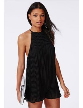pleated-chiffon-strappy-romper-black by missguided