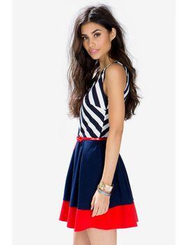 stripe-chevron-colorblock-dress by agaci