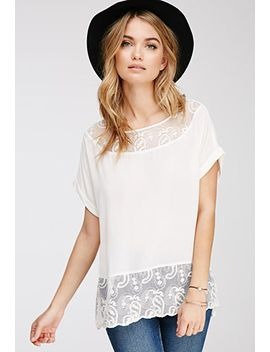 embroidered-mesh-paneled-blouse by forever-21