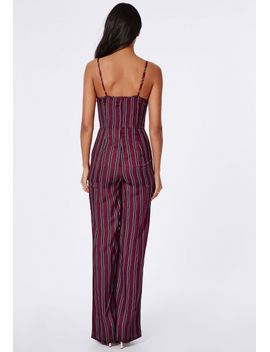 silky-feel-stripe-plunge-jumpsuit-burgundy by missguided
