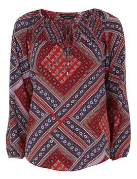 red-scarf-print-blouse by dorothy-perkins