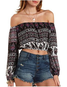 off-the-shoulder-mixed-print-crop-top by charlotte-russe