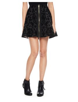 outlet---cupid-scroll-flocked-scuba-skirt by juicy-couture