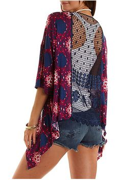 crochet-back-printed-kimono-cardigan by charlotte-russe