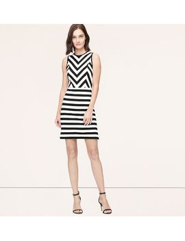 petite-mixed-stripe-dress by loft