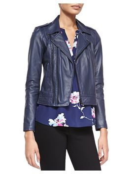caldine-double-zip-leather-moto-jacket-&-senia-b-floral-v-neck-tank by joie