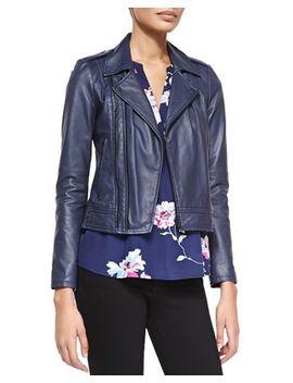caldine-double-zip-leather-moto-jacket-&-senia-b-floral-v-neck-tank by joie