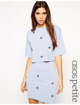 asos-petite-–-kurzes-strick-t-shirt-mit-durchgängiger-verzierung by asos-petite
