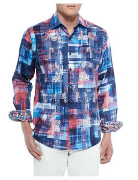 long-sleeve-graphic-picnic-sport-shirt,-blue by robert-graham