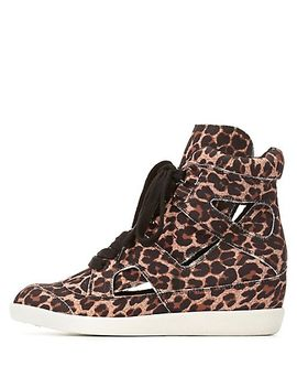 leopard-printed-hi-top-wedge-sneaker by charlotte-russe