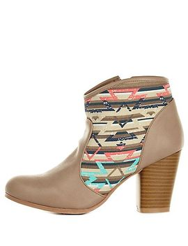 qupid-aztec-canvas-chunky-heel-booties by charlotte-russe