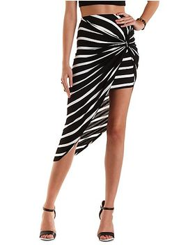 striped-&-knotted-asymmetrical-skirt by charlotte-russe