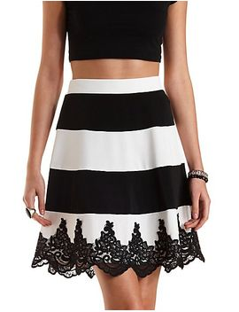 lace-trim-striped-skater-skirt by charlotte-russe
