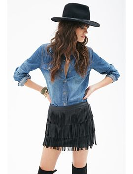 faux-leather-fringe-skirt by forever-21