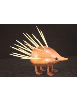 vintage-danish-modern-laurids-lonborg-teak-porcupine-hedgehog-toothpick-holder by ebay-seller