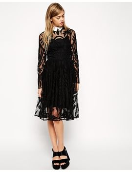 asos-lace-applique-midi-dress-with-collar by asos-collection