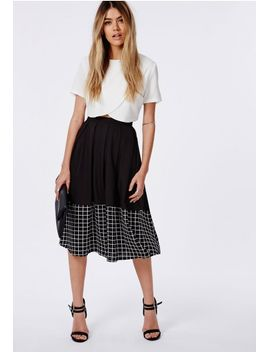 grid-panel-detail-full-midi-skirt-black by missguided