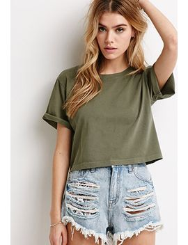 boxy-rolled-cuff-tee by forever-21