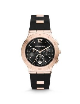 wyatt-rose-gold-tone-black-silicone-watch by michael-kors