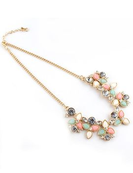 pink-gemstone-gold-leaves-chain-necklace by romwe