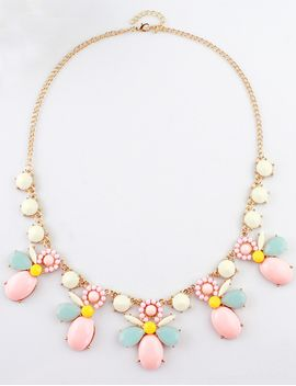 white-red-gemstone-gold-chain-necklace by romwe