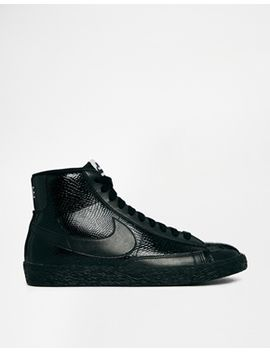 nike-blazer-mid-premium-leather-black-trainers by nike