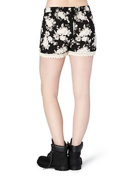 black-floral-crochet-accent-short by rue21