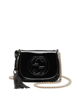 soho-patent-leather-chain-shoulder-bag,-black by gucci