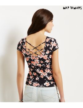 map-to-mars-floral-lattice-back-bodycon-top by aeropostale