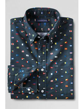 mens-slim-fit-print-sail-rigger-oxford-shirt by lands-end