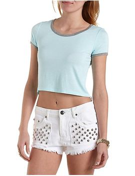 high-low-cropped-ringer-tee by charlotte-russe