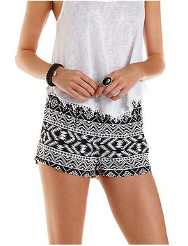 aztec-print-high-waisted-shorts by charlotte-russe