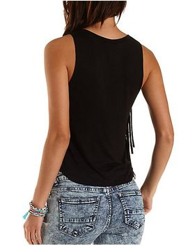 love-graphic-fringe-tank-top by charlotte-russe