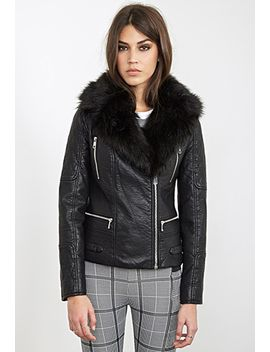 faux-fur-trimmed-moto-jacket by forever-21