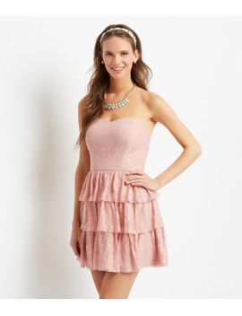 strapless-lace-ruffle-tiers-dress by aeropostale