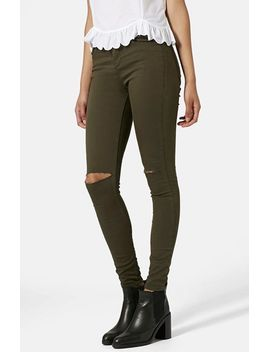 moto-leigh-ripped-skinny-jeans-(olive)-short by topshop