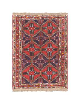 flat-weave-ghafkazi-dark-navy_-red-geometric-sumak-rectangular-wool-rug-(49-x-65) by generic