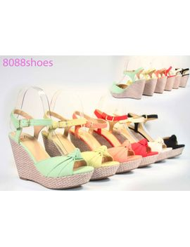 womens-summer-single-band-bow-peep-toe-platform-wedge-sandal-shoes-all-size by delicious