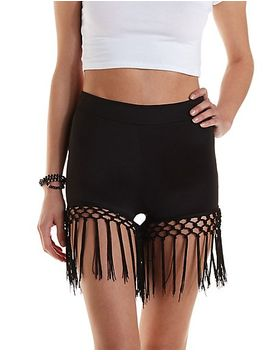 knotted-fringe-high-waisted-shorts by charlotte-russe