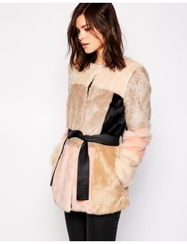 warehouse-colourblock-belted-fur-coat by warehouse