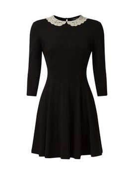 black-crochet-collar-1_2-sleeve-swing-dress by new-look