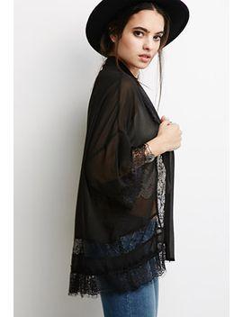 eyelash-lace-paneled-kimono by forever-21